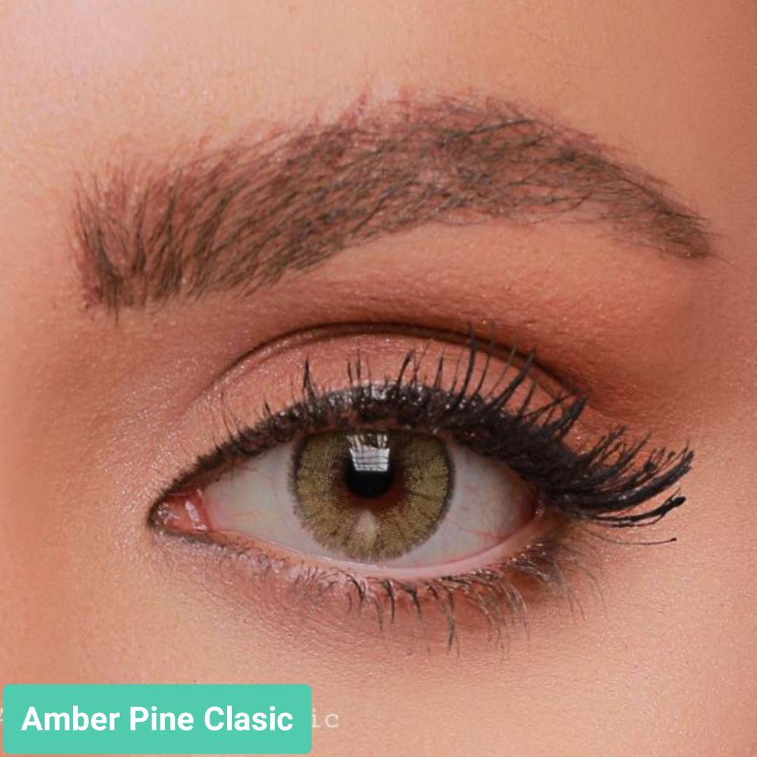 فروش لنز Amber Pine Classic (زیتونی دوردار)  برند جمستون لاکچری  بهمراه قیمت امروز لنز رنگی و قیمت امروز لنز طبی