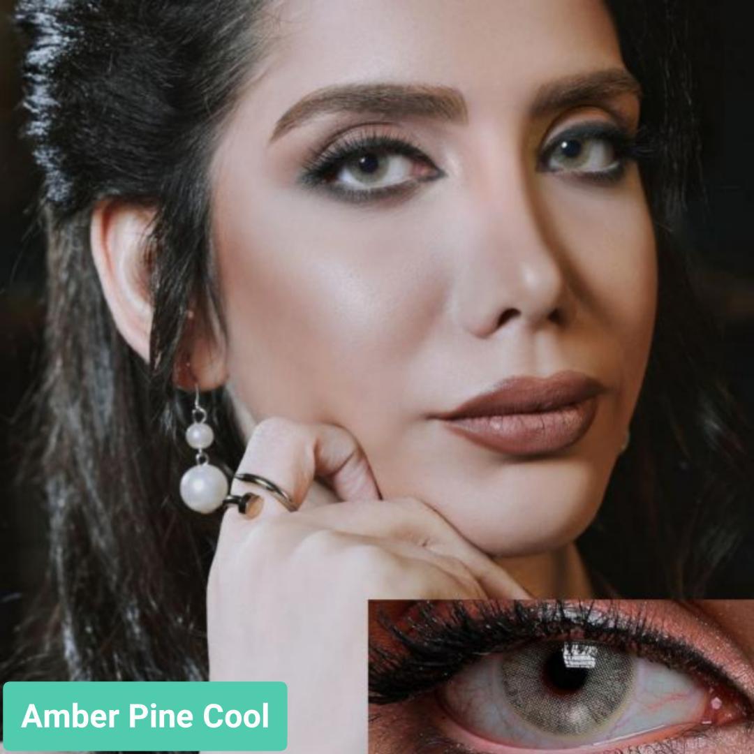 فروش لنز Amber Pine Cool (زیتونی بدون دور)  برند جمستون لاکچری  بهمراه قیمت امروز لنز رنگی و قیمت امروز لنز طبی