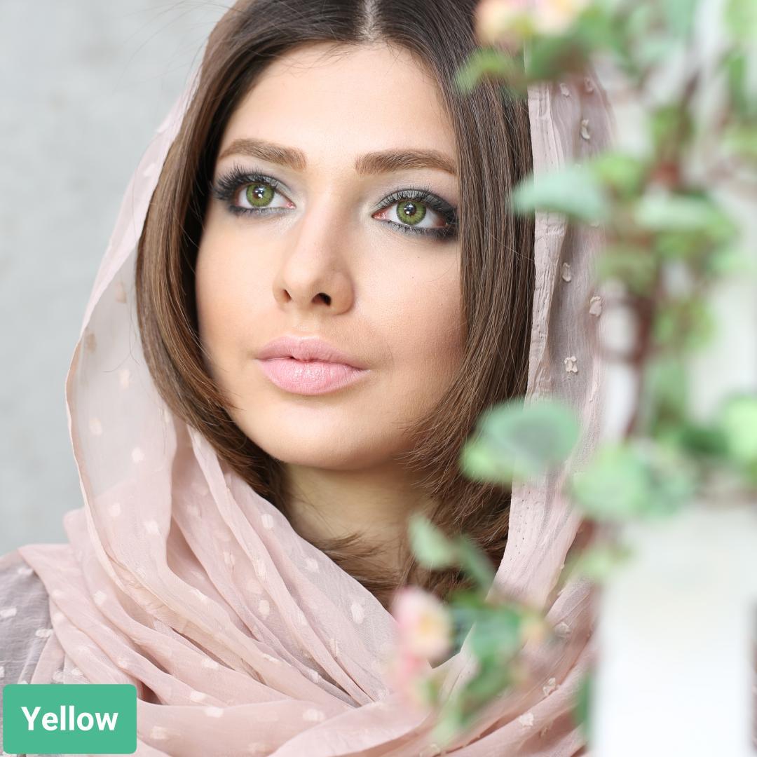 فروش لنز Yellow (پسته ای دوردار)  برند سولکو رنگی  بهمراه قیمت امروز لنز رنگی و قیمت امروز لنز طبی