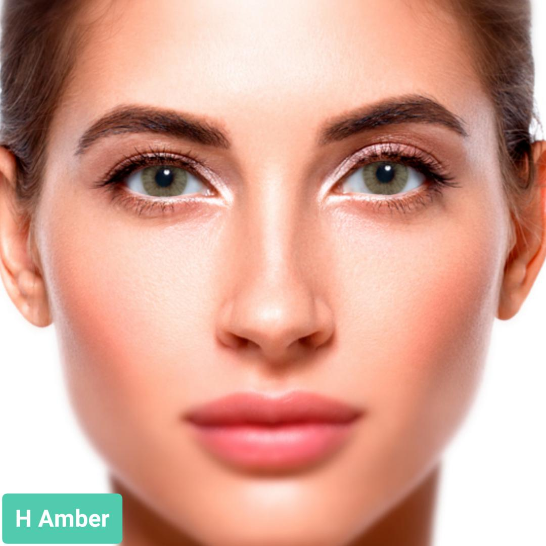 فروش H Amber (زیتونی بدون دور)  برند سولوتیکا بهمراه قیمت امروز لنز رنگی و قیمت امروز لنز طبی