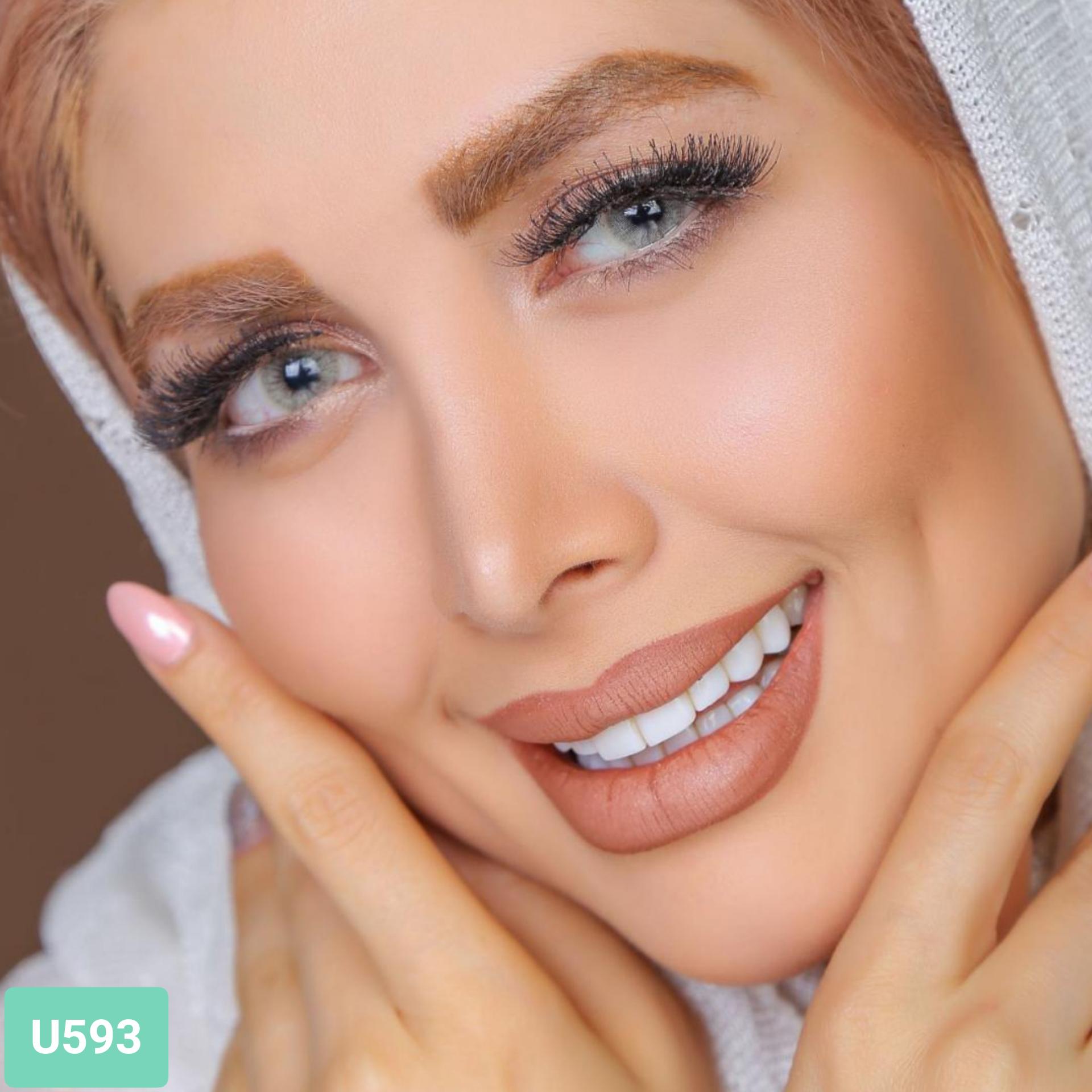 فروش لنز U593 (کرمی بژ)  برند کلیرویژن رنگی بهمراه قیمت امروز لنز رنگی و قیمت امروز لنز طبی