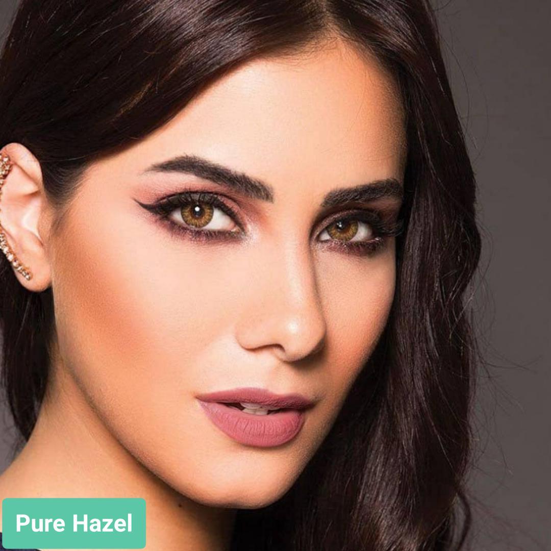 فروش لنز Pure Hazel (زیتونی)  برند ایراپتیکس رنگی  بهمراه قیمت امروز لنز رنگی و قیمت امروز لنز طبی
