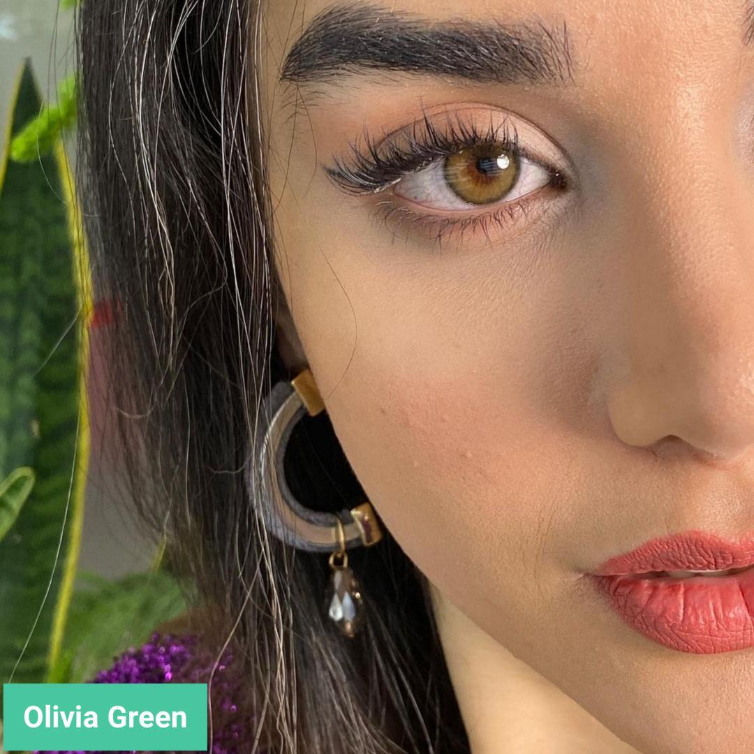 فروش لنز olivia green (سبزعسلی دوردار)  برند مینی آوا بهمراه قیمت امروز لنز رنگی  و قیمت امروز لنز طبی