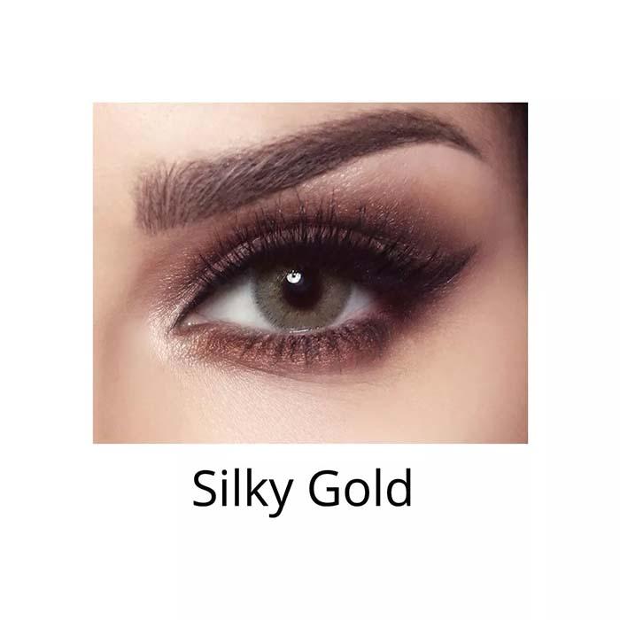 فروش لنزSilky Gold (سبز عسلی دورمحو) برند بلا  بهمراه قیمت امروز لنز رنگی  و قیمت امروز لنز طبی