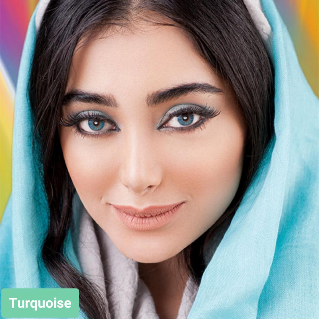 فروش لنز Turquoise (فیروزه ای)  برند فرشلوک بهمراه قیمت امروز لنز رنگی و قیمت امروز لنز طبی