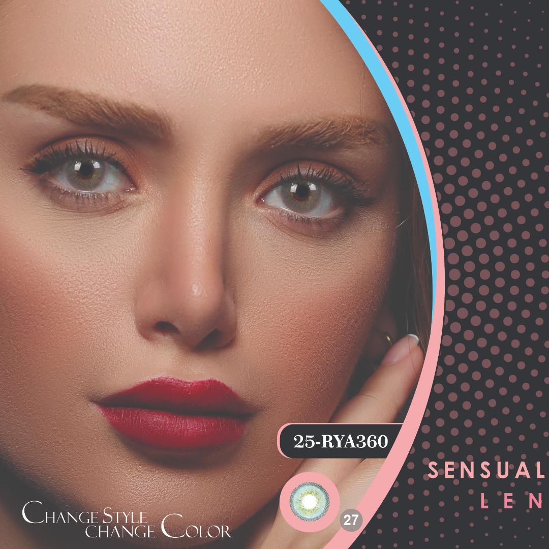 فروشRYA360(سبزآبی دوردار)برند هرا رنگی بهمراه قیمت امروز لنز رنگی و قیمت امروز لنز طبی
