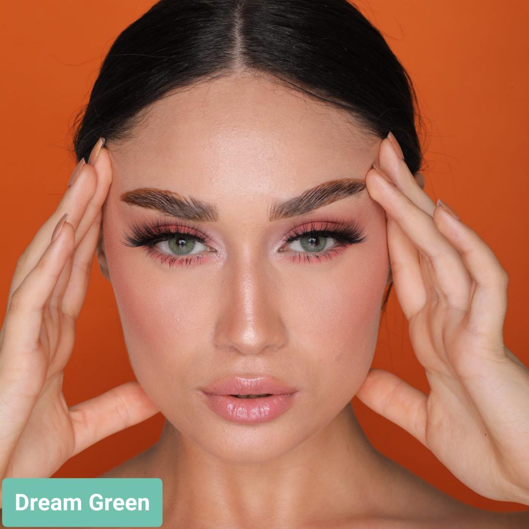 فروش لنز Dream Green (سبز عسلی بدون دور)  برند هیپنوس بهمراه قیمت امروز لنز رنگی  و قیمت امروز لنز طبی