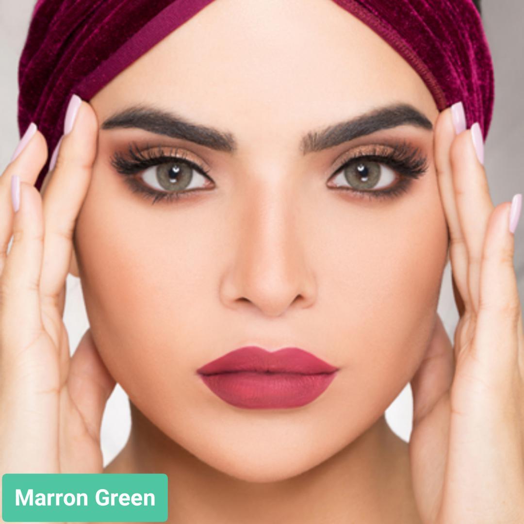 فروش لنز Marron Green (سبز دوردار)  برند ویکتوریا بهمراه قیمت امروز لنز رنگی  و قیمت امروز لنز طبی