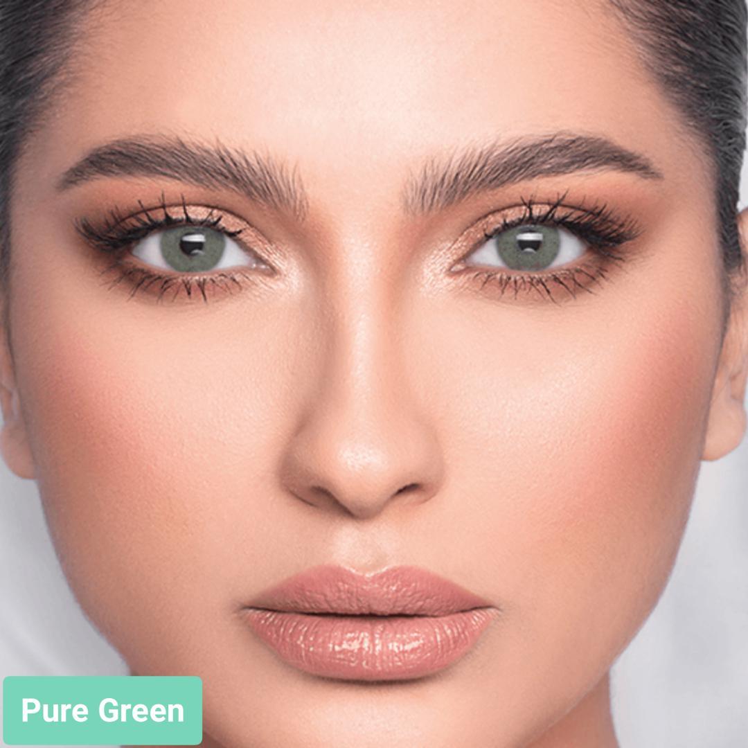 فروش لنزPure Green (سبز بدون دور)  برند لازرد بهمراه قیمت امروز لنز رنگی  و قیمت امروز لنز طبی
