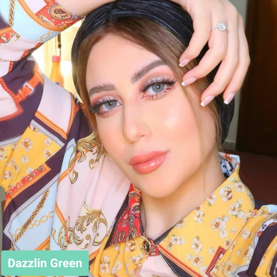 فروش لنز Dazzlin Green (سبز یشمی دورمحو)  برند لومینوس بهمراه قیمت امروز لنز رنگی  و قیمت امروز لنز طبی