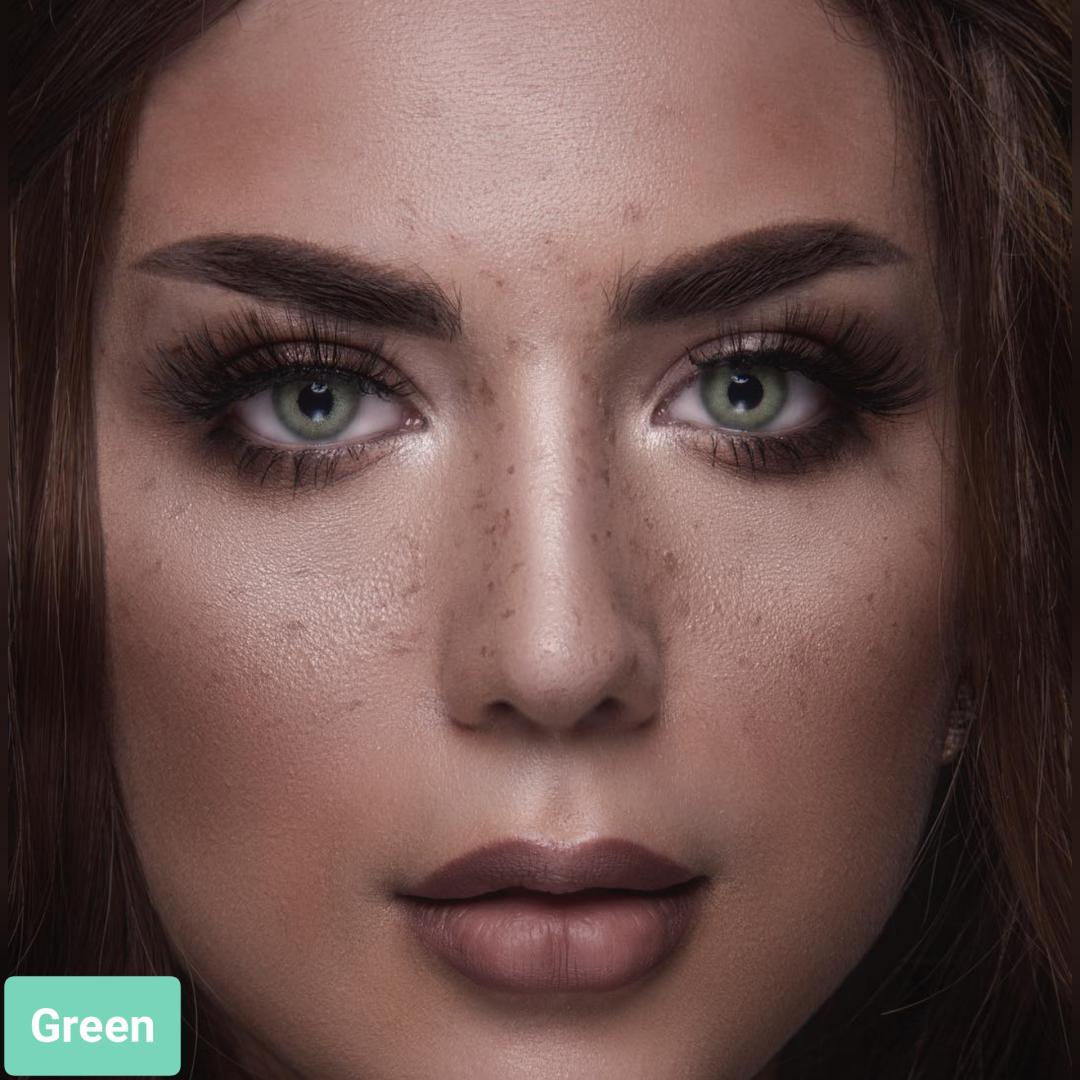 فروش لنز Green (سبز زمردی بدون دور)  برند لومینوس بهمراه قیمت امروز لنز رنگی  و قیمت امروز لنز طبی