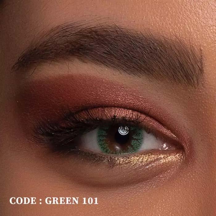 فروش لنز Green 101 (سبز بدون دور)  بهمراه قیمت امروز لنز رنگی  و قیمت امروز لنز طبی