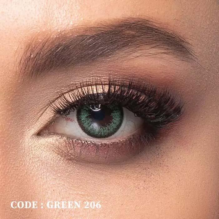 فروش لنز Green 206 (سبز دوردار)  بهمراه قیمت امروز لنز رنگی  و قیمت امروز لنز طبی