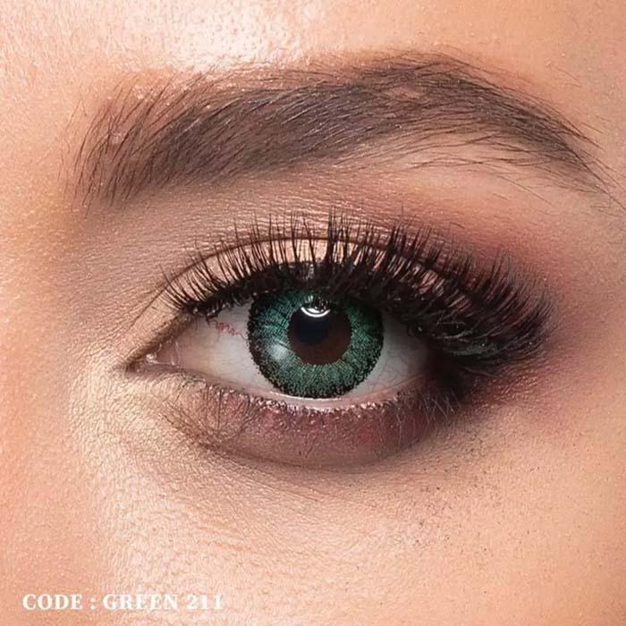 فروش لنز Green 211 (سبز دوردار)   بهمراه قیمت امروز لنز رنگی  و قیمت امروز لنز طبی