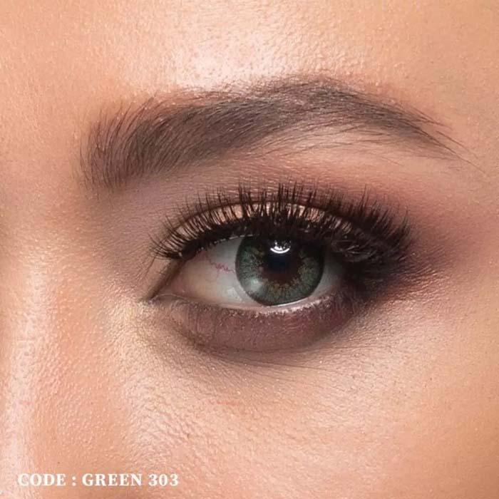 فروش لنز Green 303 (سبز عسلی)  بهمراه قیمت امروز لنز رنگی  و قیمت امروز لنز طبی