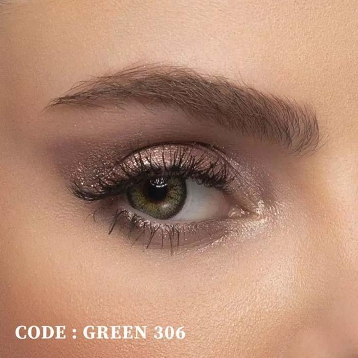 فروش لنز Green 306 (سبز عسلی)  بهمراه قیمت امروز لنز رنگی  و قیمت امروز لنز طبی