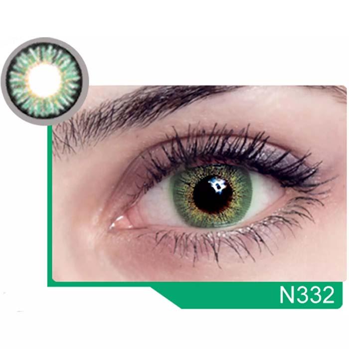 فروش لنز N 332 (سبز عسلی)  بهمراه قیمت امروز لنز رنگی  و قیمت امروز لنز طبی