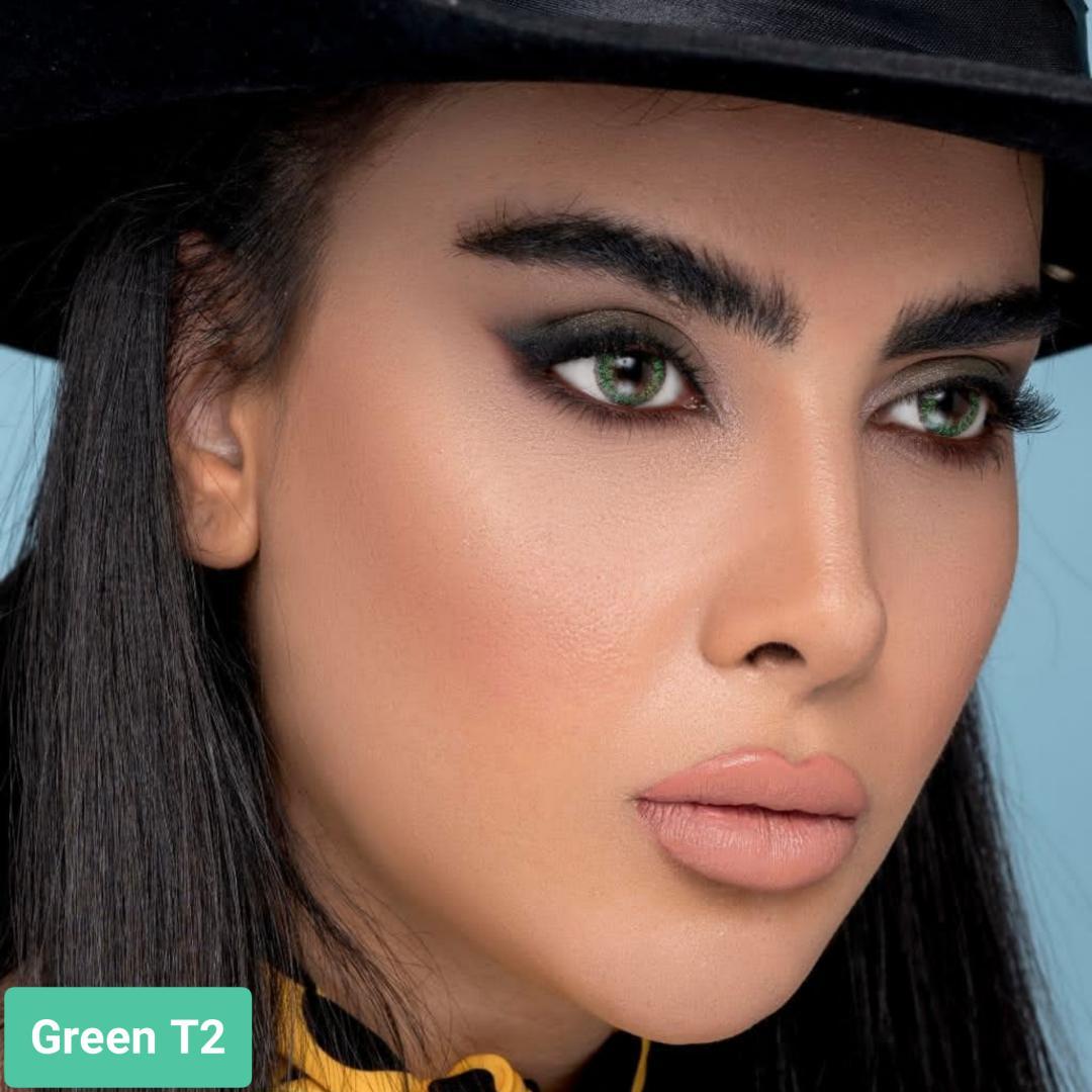 فروش لنز Green T2 (سبز دوردار)   بهمراه قیمت امروز لنز طبی و قیمت امروز لنز رنگی