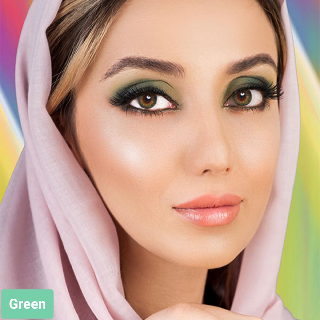 فروش لنز Green (سبز عسلی)  برند فرشلوک بهمراه قیمت امروز لنز رنگی و قیمت امروز لنز طبی