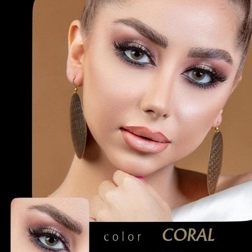 Coral(سبز عسلی بدون دور) برند آیسکالر به همراه قیمت امروز لنز طبی و قیمت امروز لنز رنگی