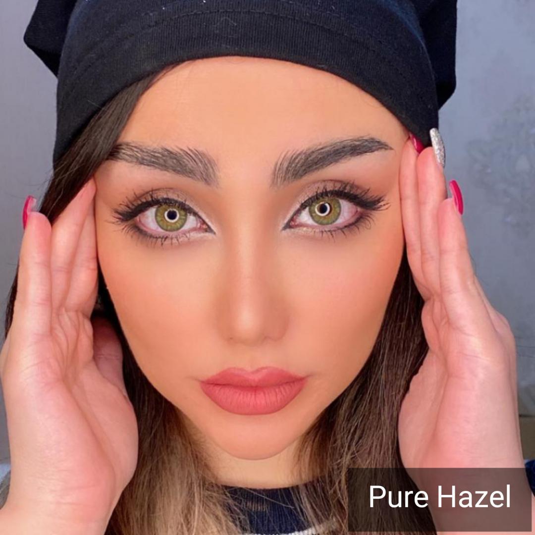 فروش لنز PioreHizel (سبز عسلی دوردار) برند دیاموند بهمراه قیمت امروز لنز رنگی و قیمت امروز لنز طبی