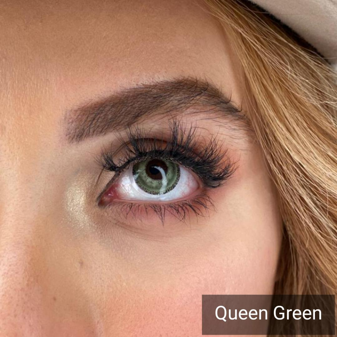 فروش Queen Green (سبز دوردار) برند دیاموند بهمراه قیمت امروز لنز رنگی و قیمت امروز لنز طبی