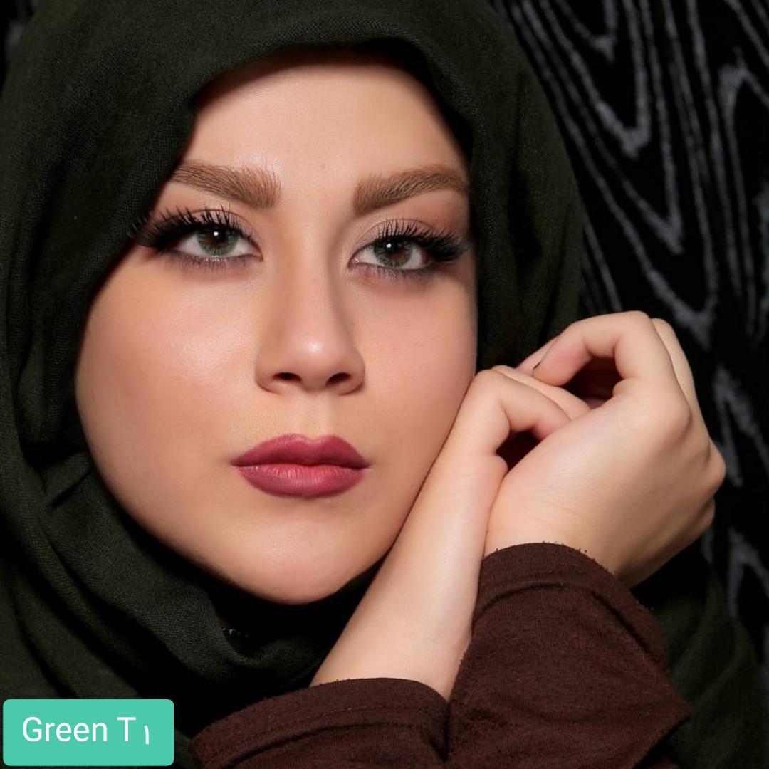 فروش لنز Green T1(سبز بدون دور) برند الگانس بهمراه قیمت امروز لنز رنگی و قیمت امروز لنز طبی