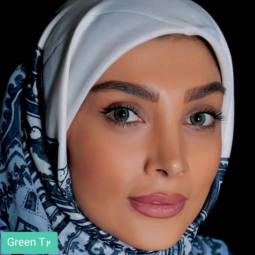 فروش لنز  Green T2(سبز دوردار) برند الگانس بهمراه قیمت امروز لنز رنگی و قیمت امروز لنز طبی