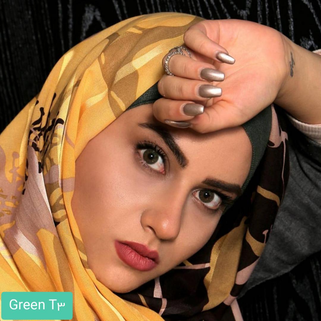 فروش لنز  Green T3(سبز عسلی) برند الگانس بهمراه قیمت امروز لنز رنگی و قیمت امروز لنز طبی
