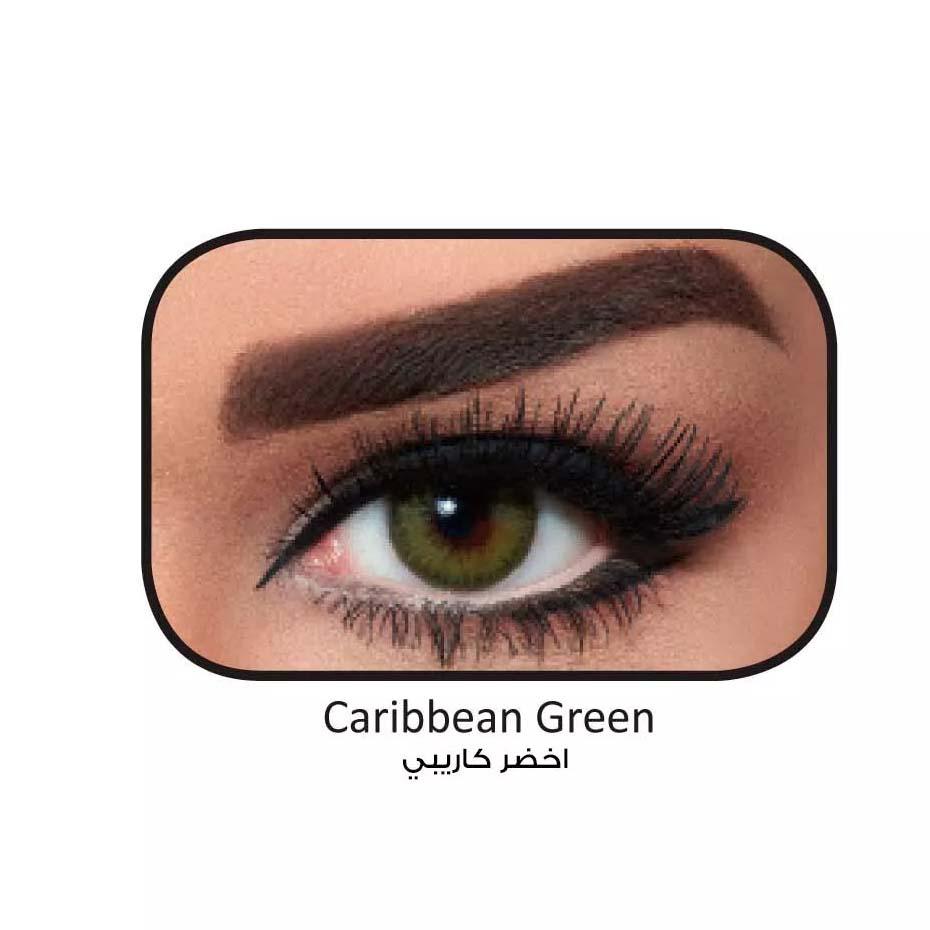 فروش لنزCarribean Green (سبز عسلی دوردار) برند بلا  بهمراه قیمت امروز لنز رنگی  و قیمت امروز لنز طبی