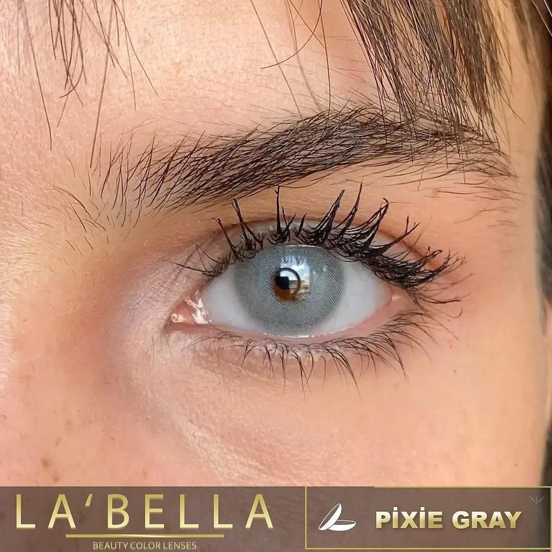 فروش لنزPixie Gray (طوسی آبی بدون دور)  برند لابلا  بهمراه قیمت امروز لنز رنگی  و قیمت امروز لنز طبی