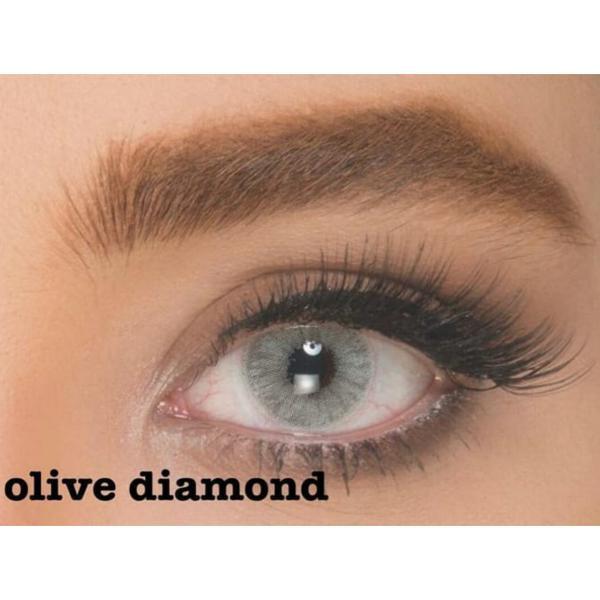 فروش لنز Olive Diamond (طوسی ته مایه آبی بودن دور)  برند ایلوژن بهمراه قیمت امروز لنز رنگی  و قیمت امروز لنز طبی