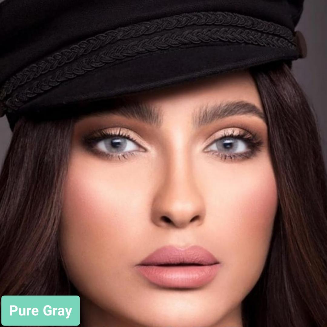 فروش لنز Pure Gray (طوسی آبی بدون دور)  برند لازرد بهمراه قیمت امروز لنز رنگی  و قیمت امروز لنز طبی