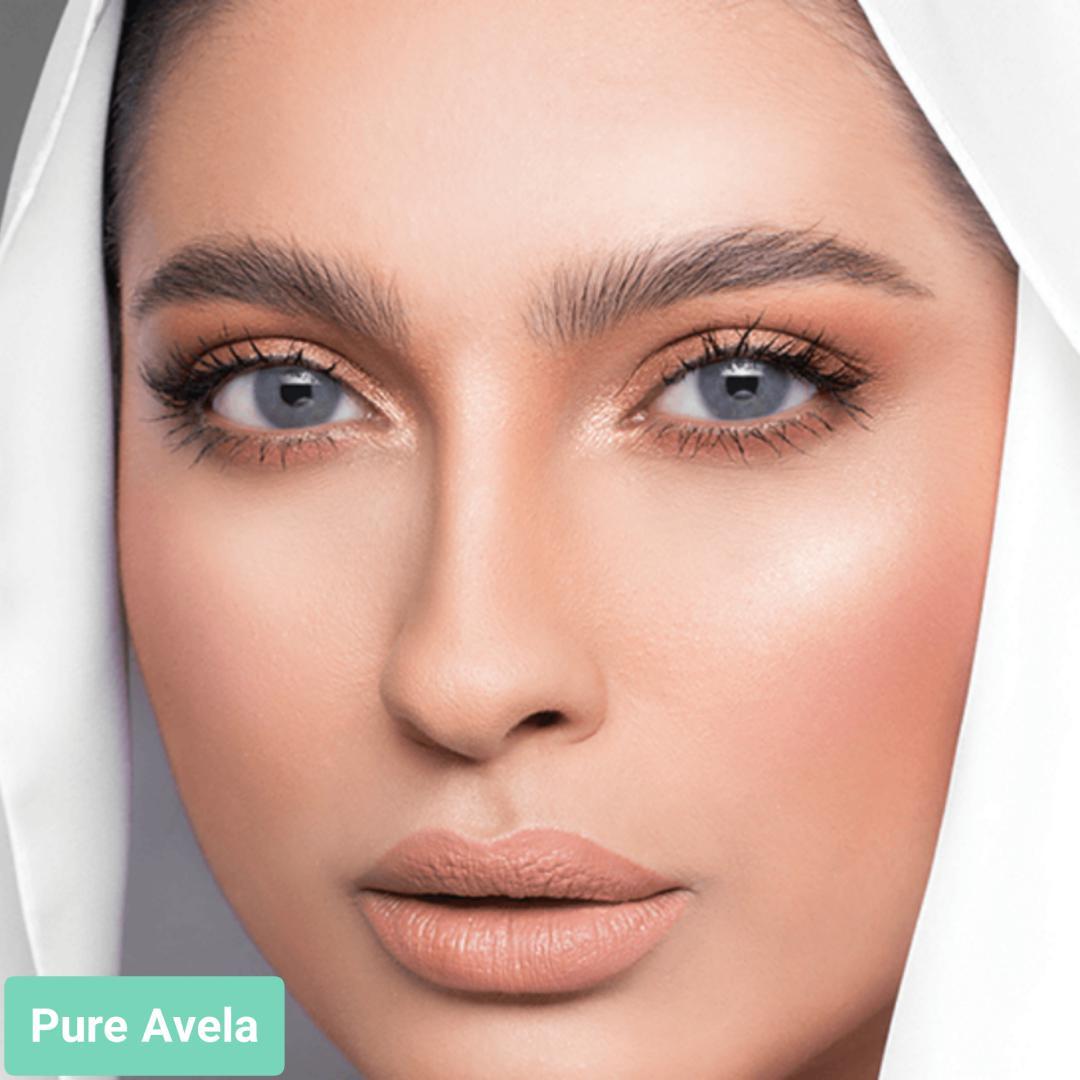 فروش لنز Pure Avela (طوسی آبی بودن دور)  برند لازرد بهمراه قیمت امروز لنز رنگی  و قیمت امروز لنز طبی