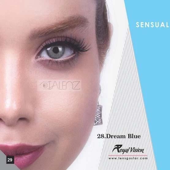 فروش لنز Dream Blue (آبی ته مایه طوسی دوردار)  برند رویال ویژن بهمراه قیمت امروز لنز رنگی و قیمت امروز لنز طبی