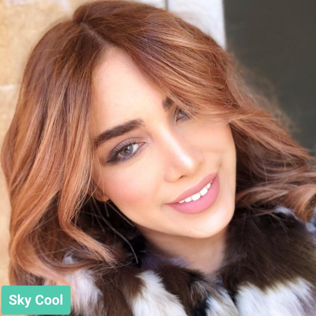 فروش لنز Sky Cool (طوسی آبی بدون دور)  برند جمستون لاکچری  بهمراه قیمت امروز لنز رنگی و قیمت امروز لنز طبی