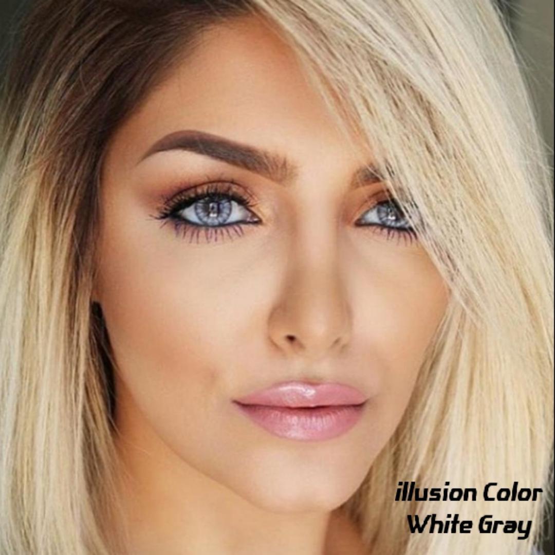 White Gray (طوسی ته مایه آبی دوردار) برند ایلوژن بهمراه قیمت امروز لنز رنگی و قیمت امروز لنز طبی