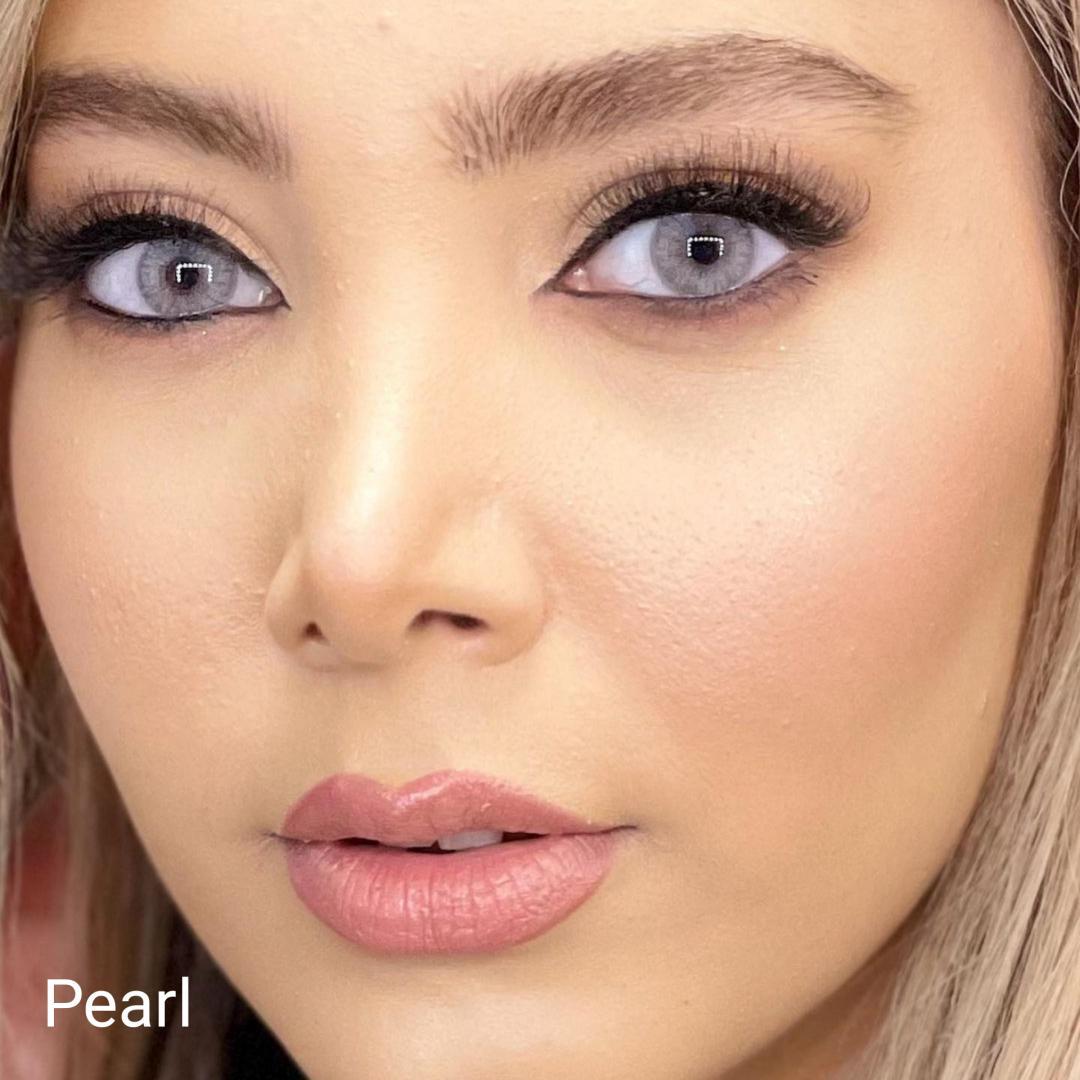 فروش لنزPearl (طوسی ته مایه آبی بدون دور)  برند شیخ بهمراه قیمت امروز لنز رنگی  و قیمت امروز لنز طبی