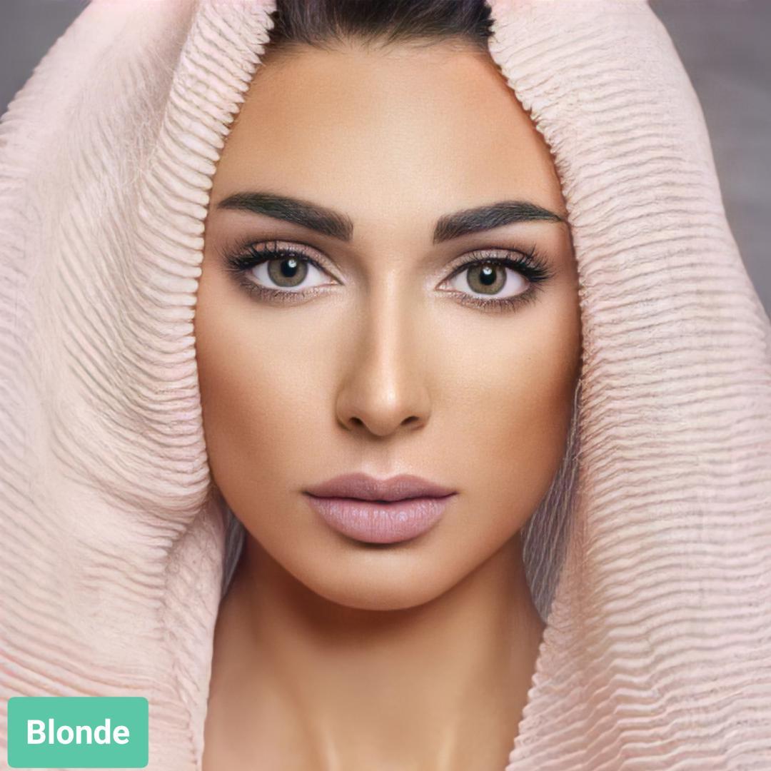 فروش لنز Chicago Blonde (طوسی سبز عسلی دوردار)  برند آنستازیا بهمراه قیمت امروز لنز رنگی  و قیمت امروز لنز طبی