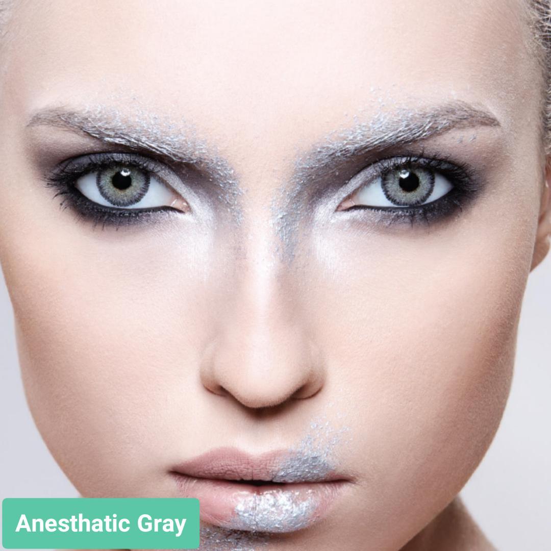فروش لنز Anesthatic Gray (طوسی سبز دوردار)  برند آنستازیا بهمراه قیمت امروز لنز رنگی  و قیمت امروز لنز طبی