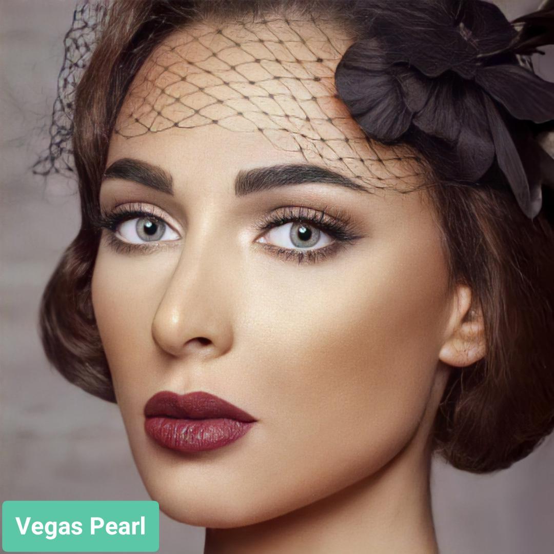فروش لنز Vegas Pearl (طوسی سبز بدون دور) برند آنستازیا بهمراه قیمت امروز لنز رنگی  و قیمت امروز لنز طبی
