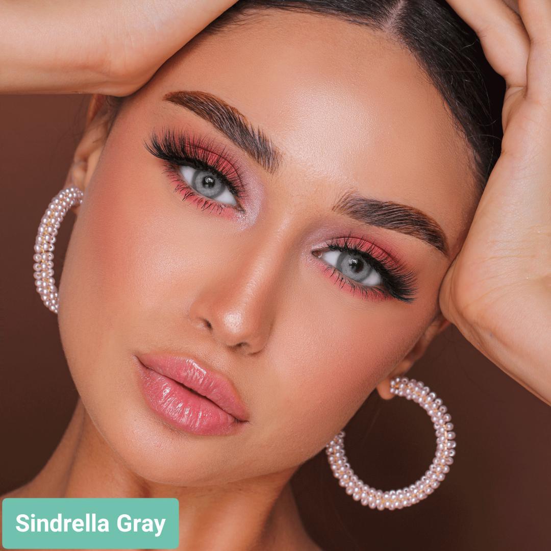 فروش لنز Sindirella Gray (طوسی سبز دوردار)  برند هیپنوس بهمراه قیمت امروز لنز رنگی  و قیمت امروز لنز طبی