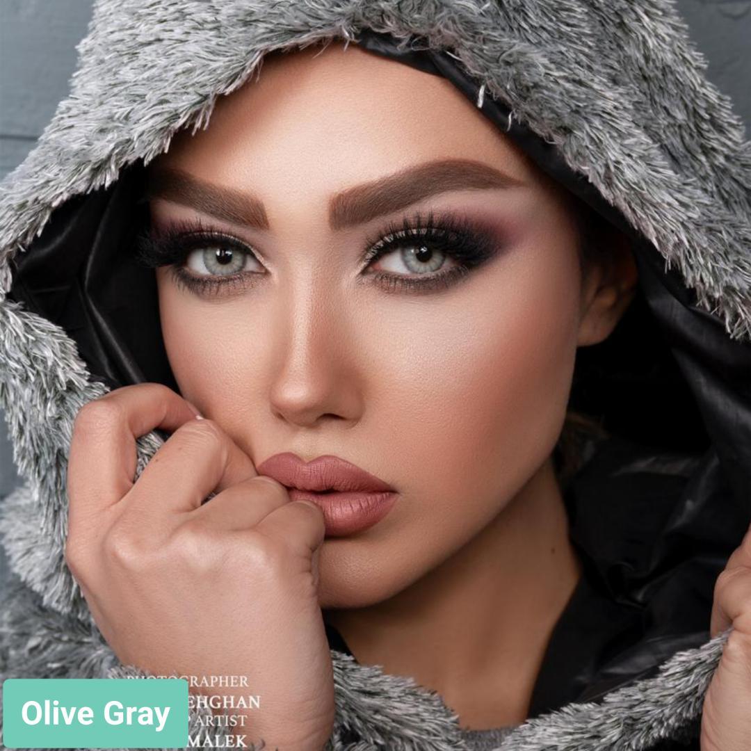 فروش لنز Olive Gray (طوسی سبز دوردار)  برند لولیتا بهمراه قیمت امروز لنز رنگی  و قیمت امروز لنز طبی