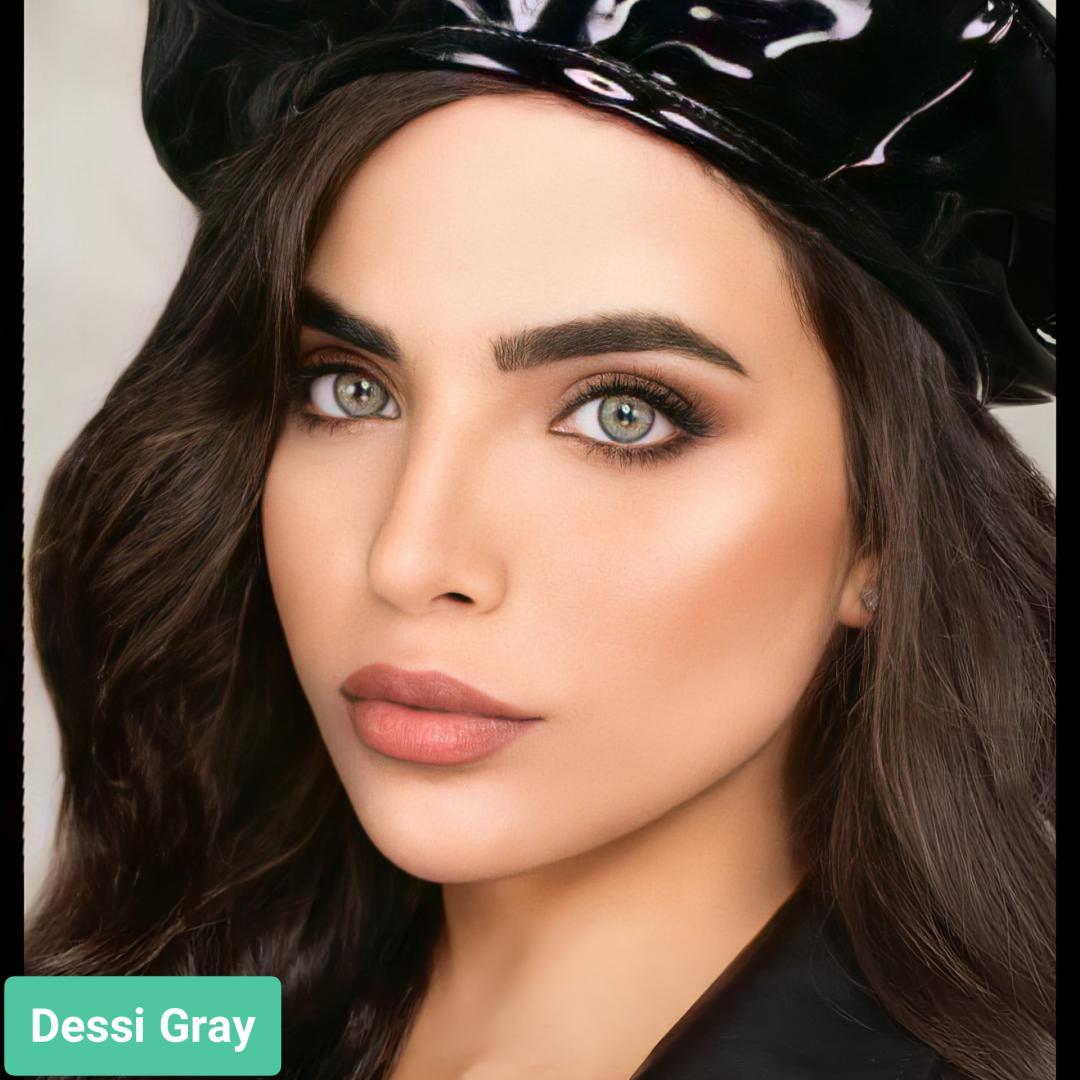 فروش لنز Dessi Gray (طوسی سبز دوردار)  برند ویکتوریا بهمراه قیمت امروز لنز رنگی  و قیمت امروز لنز طبی