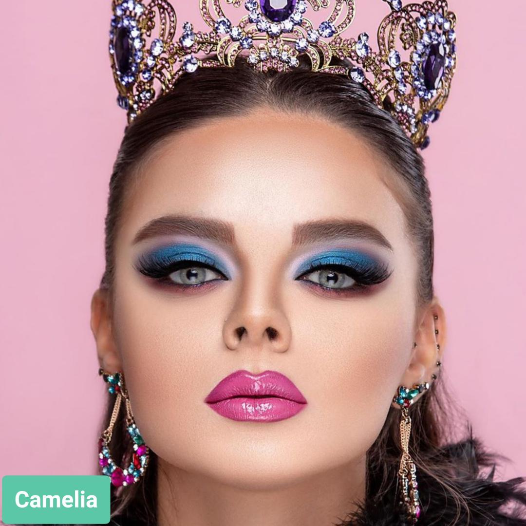 فروش لنز Camelia (طوسی ته مایه سبز بدون دور)  برند ترسا لاکچری بهمراه قیمت امروز لنز رنگی  و قیمت امروز لنز طبی