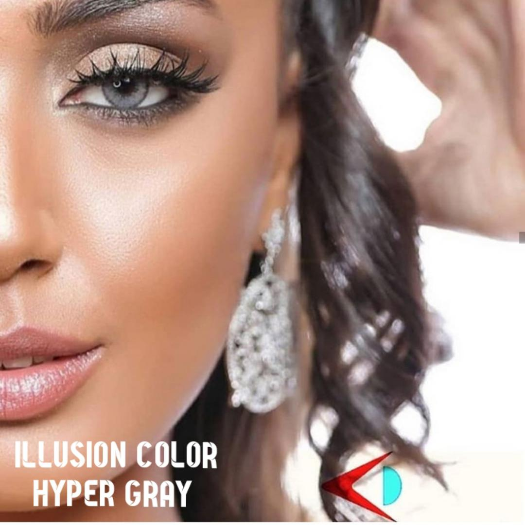 فروش لنز Hyper Gray (طوسی دوردار)   برند ایلوژن بهمراه قیمت امروز لنز رنگی  و قیمت امروز لنز طبی