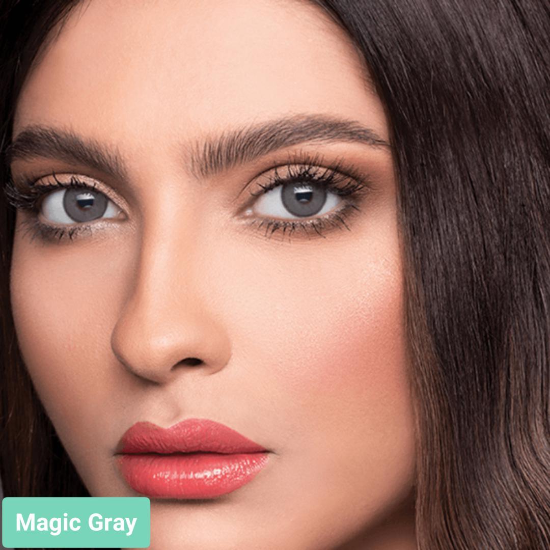 فروش لنز Magic Gray (طوسی سبز وسط عسلی)  برند لازرد بهمراه قیمت امروز لنز رنگی  و قیمت امروز لنز طبی