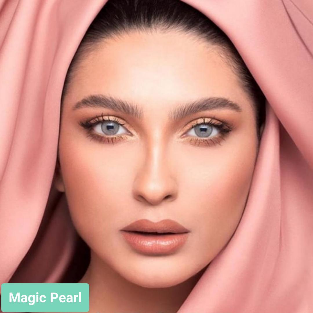 فروش لنز Magic Pearl (سبز طوسی دورمحو)  برند لازرد بهمراه قیمت امروز لنز رنگی  و قیمت امروز لنز طبی