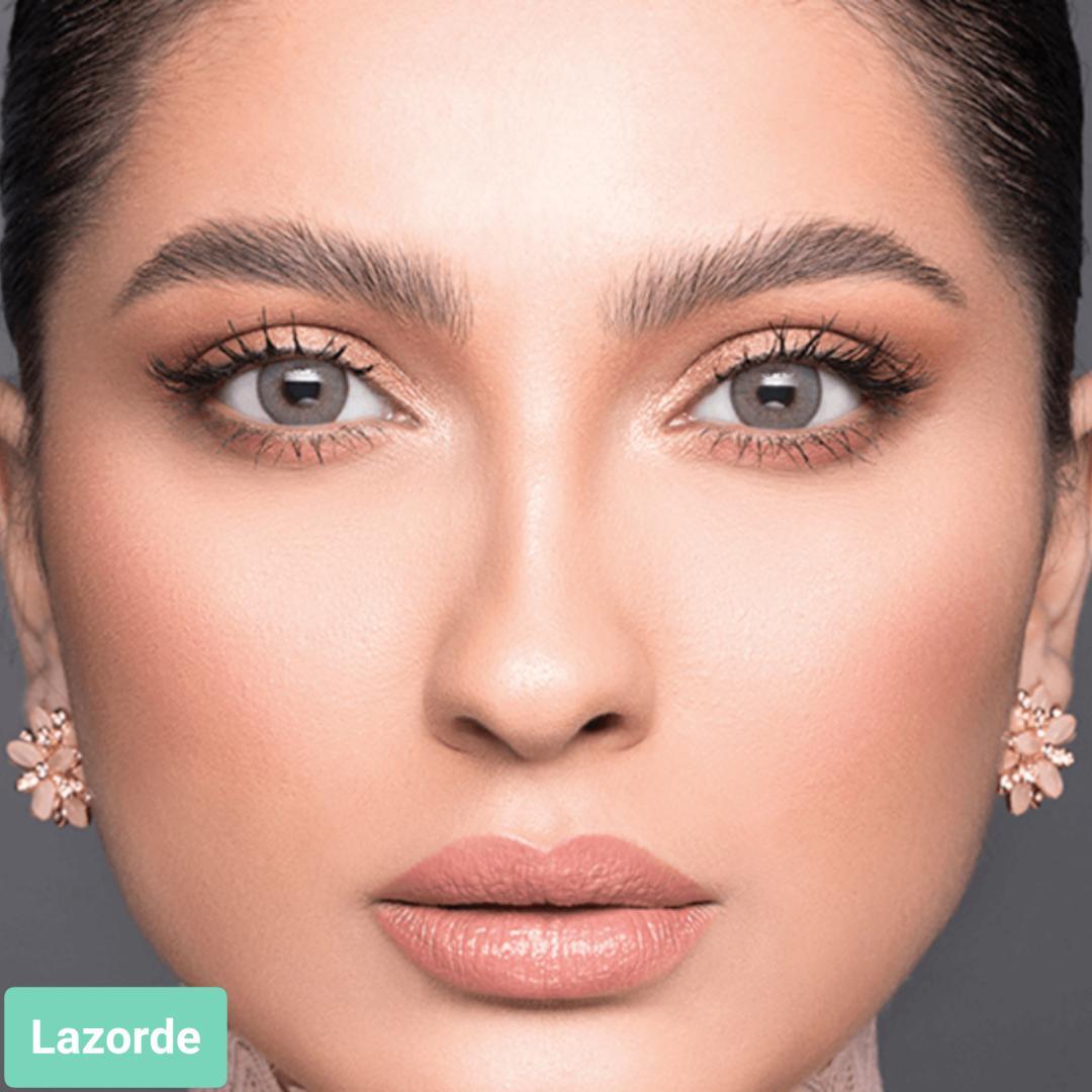 فروش لنز Lazorde (طوسی سبز دورمحو)  برند لازرد بهمراه قیمت امروز لنز رنگی  و قیمت امروز لنز طبی