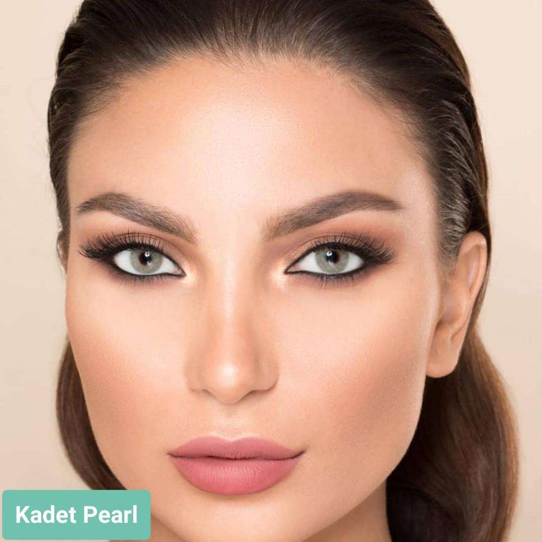 فروش لنز Kadet Pearl (طوسی ته مایه سبز بدون دور)  برند لورنس  بهمراه قیمت امروز لنز رنگی  و قیمت امروز لنز طبی